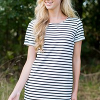 Need It Now Black and White Striped Dress