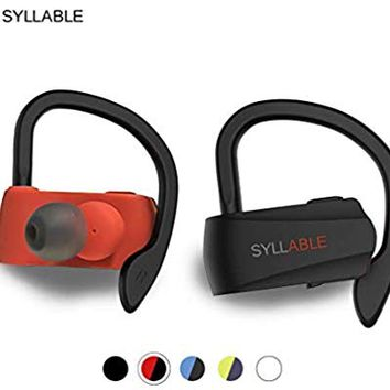 Syllable Bluetooth Headphones,Wireless Earbuds, HD Stereo Sound Wireless Headset Bluetooth 5.0,Real IPX5 Sweatproof for sports, music,6H Playtime Built-in Microphone(RED)
