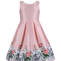 Emma Riley's Girls' Satin A-Line Party Dress with Pleats
