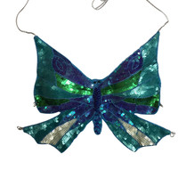 Sequin Butterfuly Crop Top