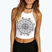Bonnie Ethnic Print Halter Tie Crop Top | Boohoo