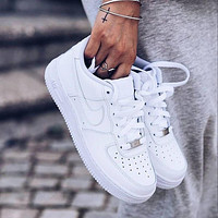 Nike Air Force 1 Triple White Men's and Women's Sneakers Shoes