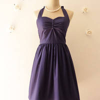 Vintage Inspired Dress Navy Party Dress Classic Bridesmaid Dress Once Upon A Time -Size XS, S, M, L,XL, CUSTOM