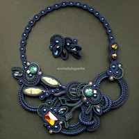 Dark blue soutache set. Fashion soutache jewelry.