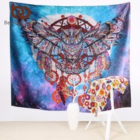 BeddingOutlet Owl Dream Catcher with Feathers Tapestry Bohemia Wall Carpet Microfiber Soft Life Wall Sheet 130x150 150x200cm