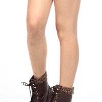 Brown Faux Leather Lace Up Combat Boots