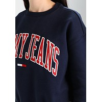 Tommy Jeans Embroidery Logo Loose Crewneck Sweater Pullover Sweatshirt-1