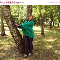 Cardigan Long Knitted by machine, Oversized Dolman Jacket Loose Cardigan,Green emerald, half-woolen, does not irritate the skin