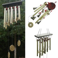 Home Decor Gift Multi Styles Grace 4 Tubes 5 Bells Copper Coins Windchime Chapel Bells Wind Chimes Door Hanging