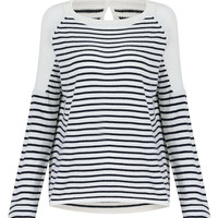 White Striped Jumper with Keyhole Back
