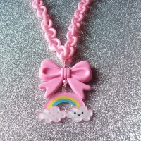 Sweet Skies - Happy Rainbow and Bow Charm on Pastel Pink Chain Necklace from On Secret Wings