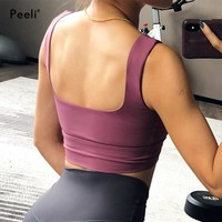 Peeli Women Sports Bra Top Fitness Quick Dry Gym Workout Brassiere Padded Push Up Yoga Bra High Support Athletic Running Shirt