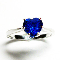 "Blue topaz ring, topaz ring, solitaire ring, heart ring, blue wedding, anniversary ring s 6 3/4   ""Pretty Peacock Blue"""