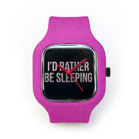 I'd Rather Be Sleeping Watch in a Pink Glitter Strap