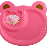 Plastic Cartoon Bear Dinner Plate for Children (Pink)