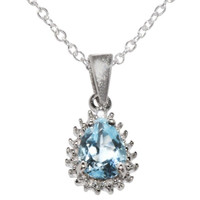 "925 Sterling Silver 1ct Blue Topaz & Diamond Necklace, 18"" chain"