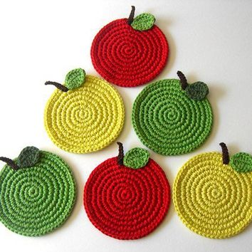 Apple Crochet Coasters Mix Green Red Yellow . Kitchen Decor Back to Schooll Drink Healthy Vegan Decor Crochet Fruit Collection - Set of 6