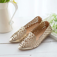 Woman Shoes Spring Summer 2016 Golden Casual Golden Sliver Hollow Out Shoes Flats KJ032