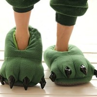 Thicken Green Dinosaur Claws Novelty Slippers for Men Women Warm Winter Slippers Ideal Christmas Gifts-large Size