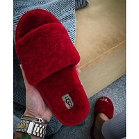 UGG wool in one word drag slippers-8