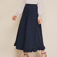 Navy Button Front Ruffle Hem Skirts Womens High Waist Solid Flared A Line Casual Long Skirt