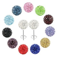 One Pair of 925 Sterling Silver 8mm Round Clear Crystal Disco Ball Back Post Stud Earrings