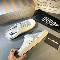 Golden Goose Ggdb White Leather And Grey Star Slipper