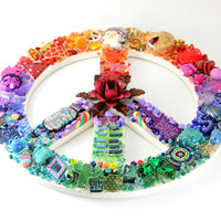 Large Mosaic Peace Sign, Rainbow Peace Sign, Rainbow Color, Peace Symbol, Peace Sign, Rainbow Mosaic, Multicolored Peace Sign, Unique Peace