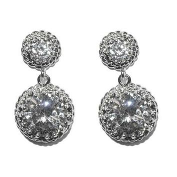 Sage Round Drop Statement Earrings | 4.5ct