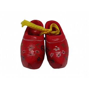 Wooden Shoe Party Favor Clogs with handpainted Flower Design