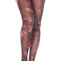 Autumn Rose Patterned Pantyhose