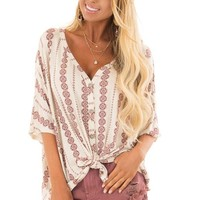 Oatmeal Button Up Top with Burgundy Striped Vertical Print