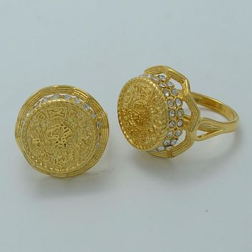 Anniyo Arab Coin Ring for Women,Middle Eastern Rings for Girl Gold Color Ancient Coins Jewelry #003312