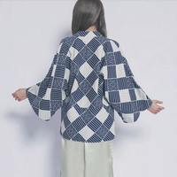 Lost in Kyoto Collection blue white basic traditional print fabric kimono/jacket