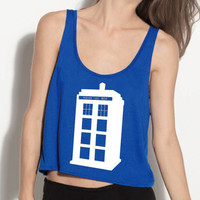 Police Box Crop Tank - Fits Many Sizes - Simple Minimal Design - Doctor Who - Flowy Women Hipster Girls Teen Shirt Tee Shirt