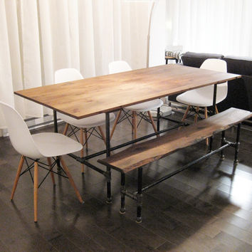 The Ziggy - dining table made from recycled barn wood and cast iron pipe leg armature