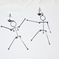 New Silver Anatomical Jointed Stick People Earring Vintage Gunmetal Girl Boy Figures Naughty Fun Goth Steampunk Sexy Damand Costume Jewelry