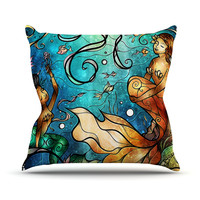 """Mandie Manzano """"Under the Sea"""" MermaidsThrow Pillow, 18"""" x 18"""" - Outlet Item"""