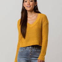 SKY AND SPARROW V-Neck Womens Crop Sweater