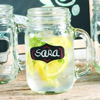 Set of Four (4) 16-oz Chalkboard Mason Jar Beverage Cups ~ 4 Clear Glass Drink Cups ~ Chalk Included:Amazon:Kitchen & Dining