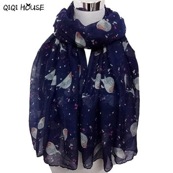 Womens Scarfs Fashionable Print Bird Lady Long Scarf Wraps Shawl And Scarves Autumn Winter Poncho#A919