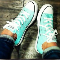 Tagre Converse Fashion Canvas Flats Sneakers Sport Shoes Low tops Mint Green
