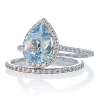 Platinum Bridal Set with matching band Platinum Pear Shape Aquamarine Engagement Ring Wedding Band Set