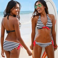 Stripe Bikini set Bohemian  Women's Swimwear monokini Swimsuits Halter tops tankini push up Bathing swimming suit for women