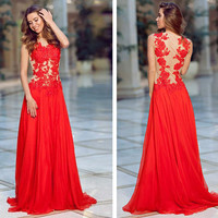 Lace Prom Dresses, Red Sleeveless Prom Dress