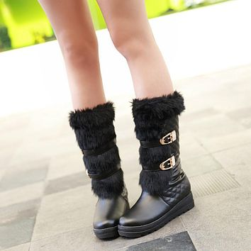 Fashion New 2016 Women Snow Boots Shoes Warm Fur Lining with Rhinestone and Buckle 1262
