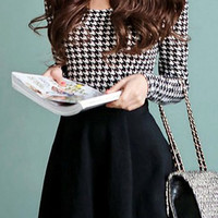 Black Plaid Long Sleeve Mini Dress