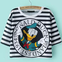 Striped Donald Duck Print Short Sleeve Graphic T-shirt