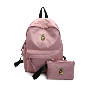 BEARBERRY Women canvas Backpack 2 PCS/Set High College School Students Shoulder Bag Waterproof Fruit Pineapple Embroidery bag