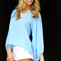 Stay With Me Blouse: Periwinkle | Hope's